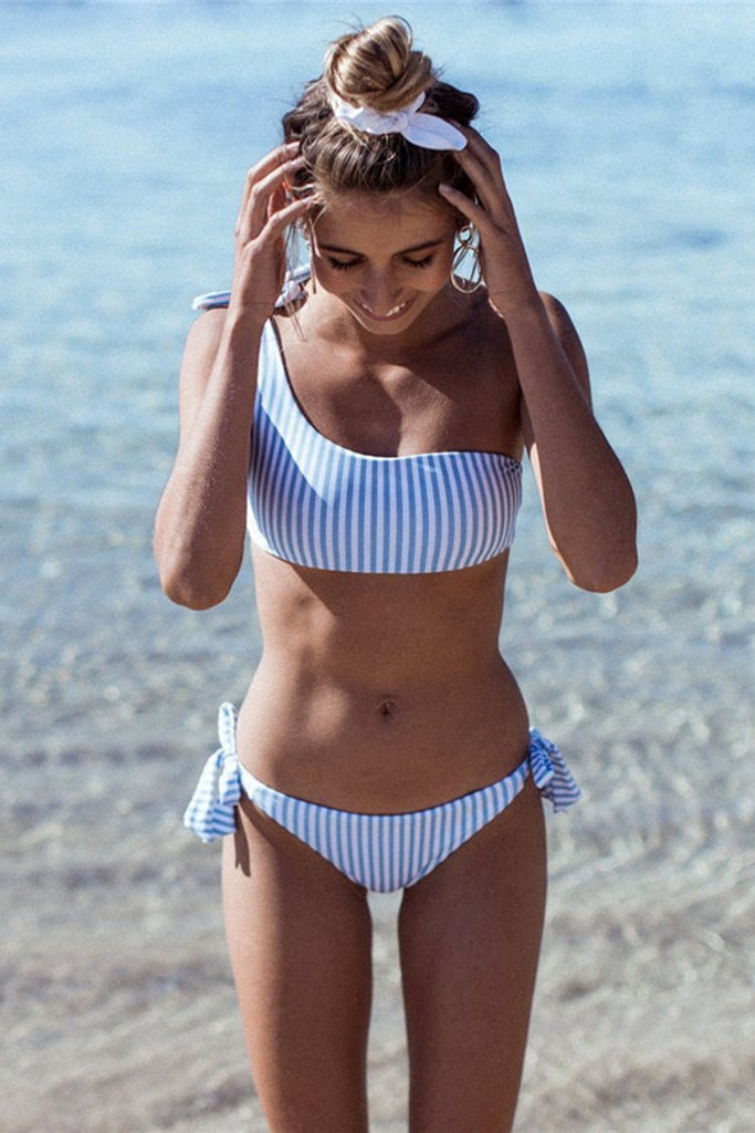 Striped One Shoulder Bikini Set//Buy 3 Get Free Shipping(Code:freeship)