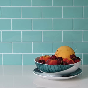 3D mint subway tile stickers close up