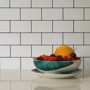 3D white subway tile stickers close up