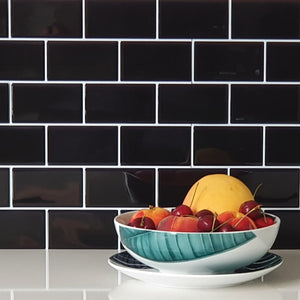 3d black subway tile stickers close up