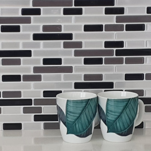 3D silver mosaic tile in kitchen