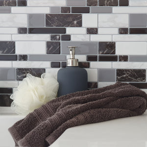 3D marble mosaic tile in bathroom