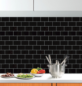 3D black subway tile stickers on kitchen wall