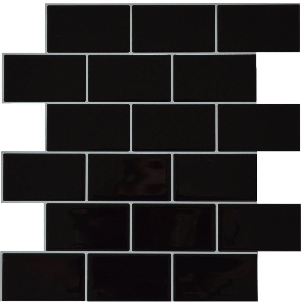 3D black subway tile sticker single sheet