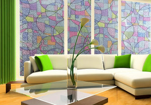 Geometric Stained Glass Effect Privacy Window Film