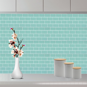 3D mint subway tile sticker on kitchen wall