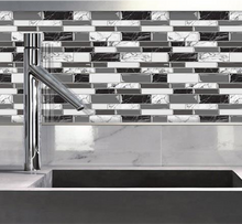 Load image into Gallery viewer, 3D marble mosaic tile behind sink