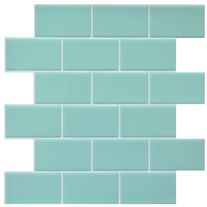 3D mint subway tile sticker single sheet