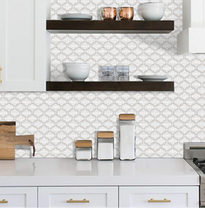 3D Moroccan tile in kitchen with shelves
