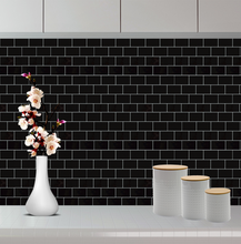 Load image into Gallery viewer, 3D black subway tile stickers on kitchen wall