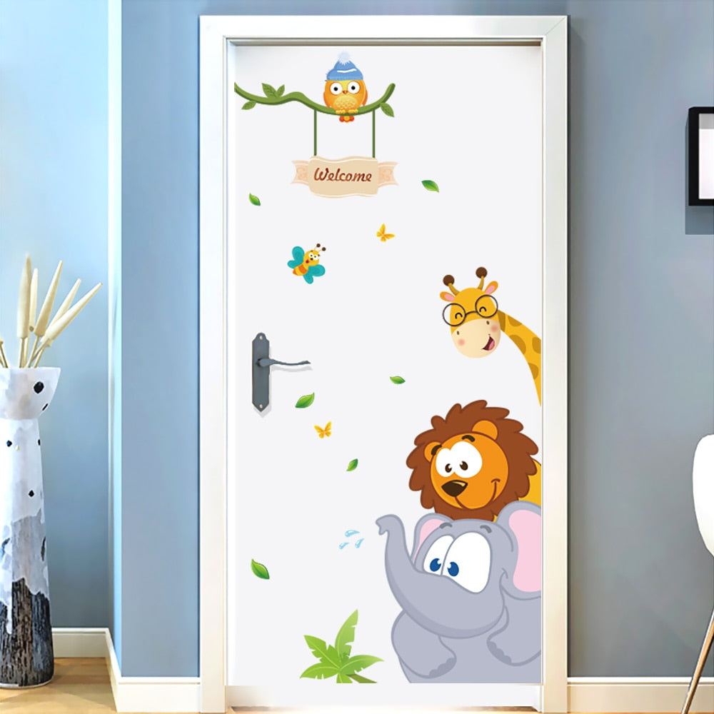 jungle-animal-children-decal-on-door