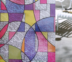 Geometric Pattern Stained Glass Effect Window Film