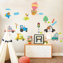 Load image into Gallery viewer, animals-in-vehicles-children-decal-on-wall