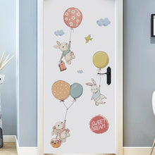Load image into Gallery viewer, bunnies-with-balloons-children-decal-on-door