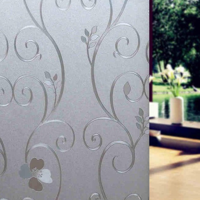 Flower Embossed Privacy Window Film