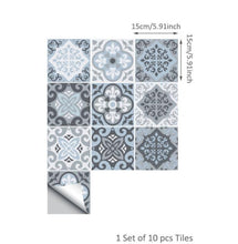 Load image into Gallery viewer, Mediterranean Blue-Grey Self Adhesive Tile Stickers