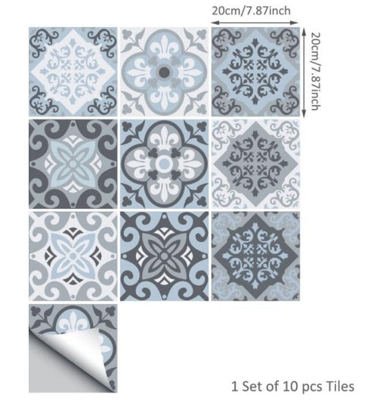 Mediterranean Blue-Grey Self Adhesive Tile Stickers