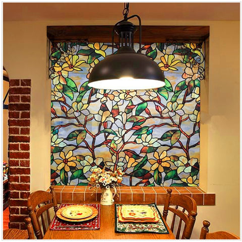 Magnolia Flower Stained Glass Effect Window Film