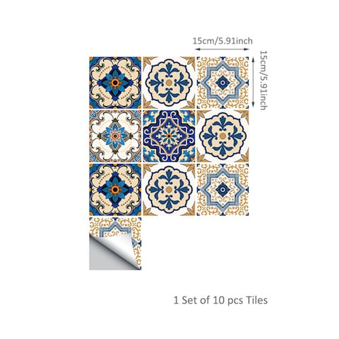 Moroccan Blue Self Adhesive Tile Stickers