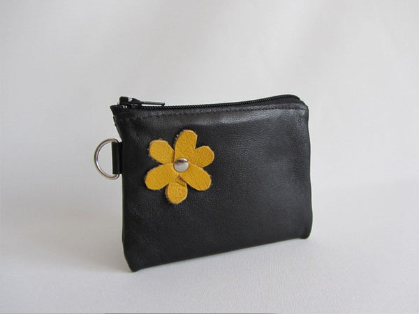 Black Leather Zip Coin Pouch with Yellow Flower Detail