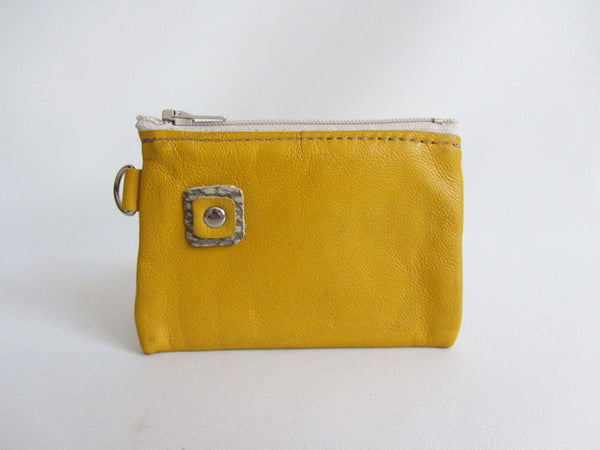 Yellow Leather Zip Coin Pouch with Square Detail