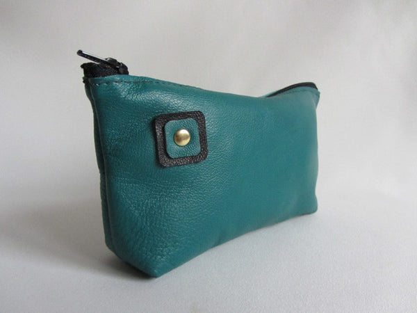 Mallard Teal Green Leather Zip Sunglass Pouch with Square Detail