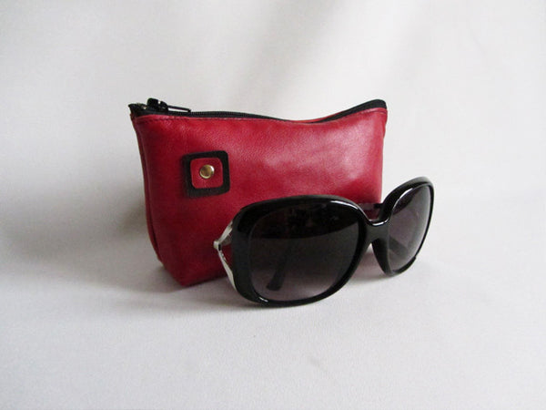 Cherry Red Leather Zip Sunglass Pouch with Square Detail