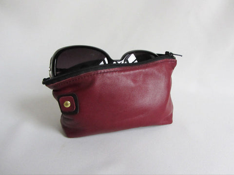 Marsala Leather Zip Sunglass Pouch with Square Detail
