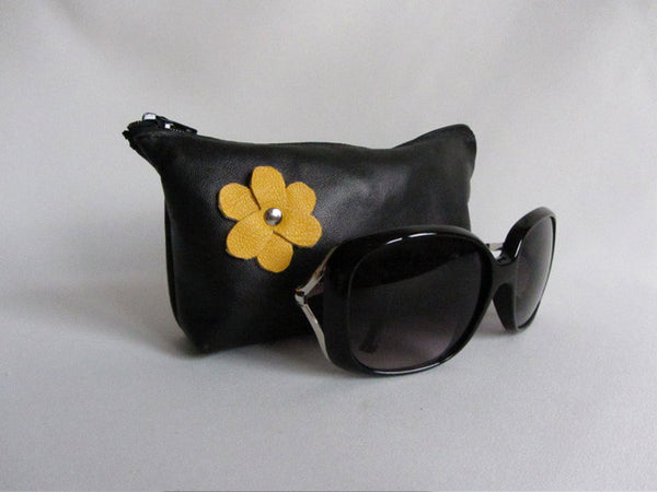 Black Leather Zip Sunglass Pouch with Yellow Flower Detail