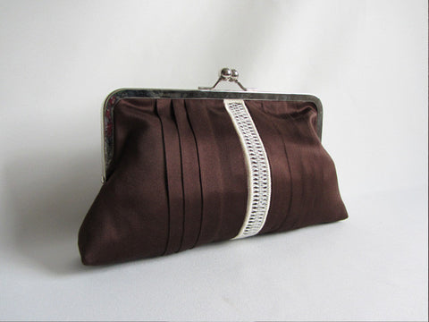 Espresso Tuxedo Clutch with Handstitched Embroidery and Detachable Chain