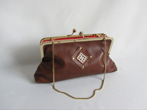 Cognac Leather Clutch with Handstitched Embroidery and Detachable Chain