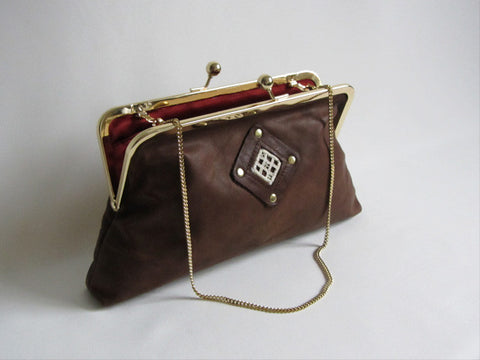 Espresso Brown Leather Clutch with Handstitched Embroidery and Detachable Chain