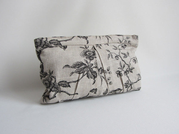 Ecru Linen Bird and Floral Print Pleated Clutch