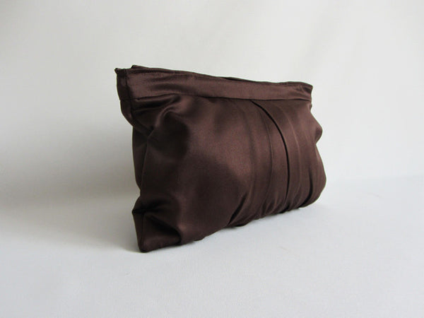 Espresso Brown Pleated Clutch