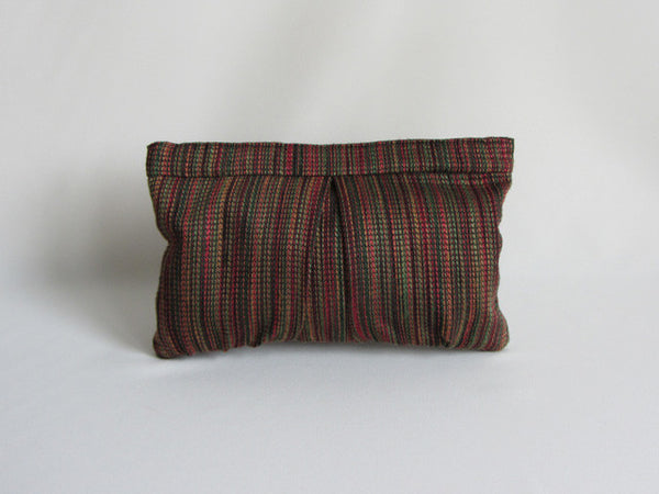 Multi Autumn Cranberry Stripe Pleated Clutch