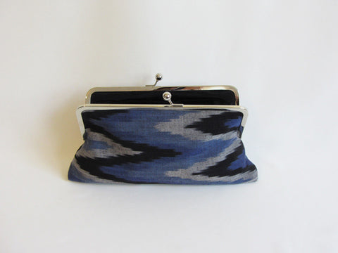 Blue, Black, Grey Chevron Tribal Ikat Print Clutch
