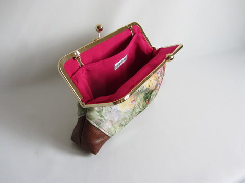 Floral Monet Inspired Print Clutch with Leather Corners and Detachable Chain