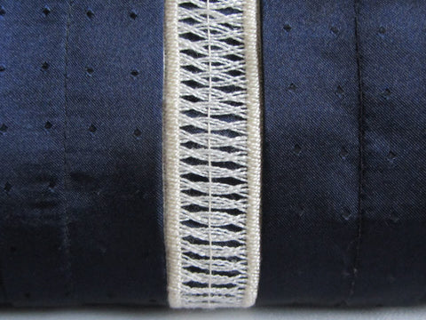 Navy Tuxedo Pleated Clutch with Handstitched Embroidery and Detachable Chain