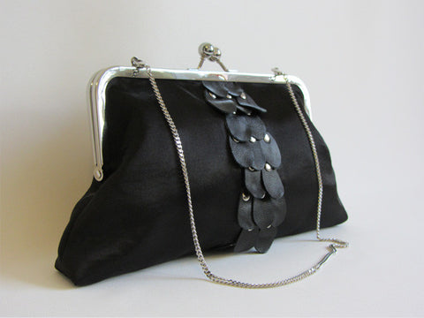 Black Clutch with Leather Teardrop Pedals and Detachable Chain