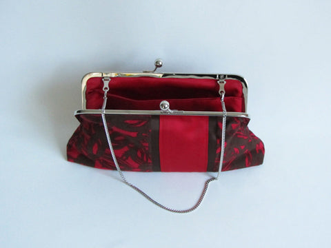 Holly Red and Brown Abstract Print Clutch with Detachable Chain