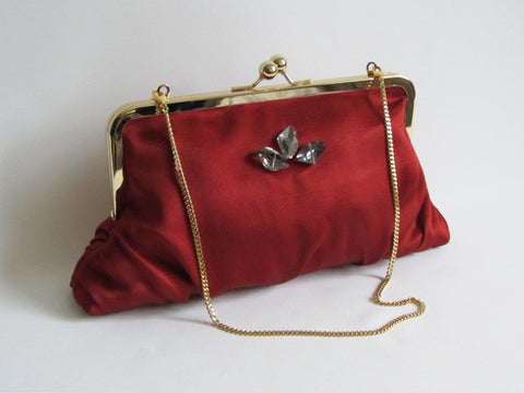 Cinnamon Red Ruched Clutch with Triple Jewel Adornment and Detachable Chain