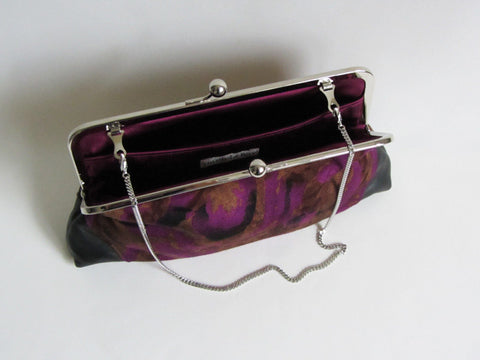 Purple, Black, Brown Abstract Print Clutch with Leather Corners and Detachable Chain