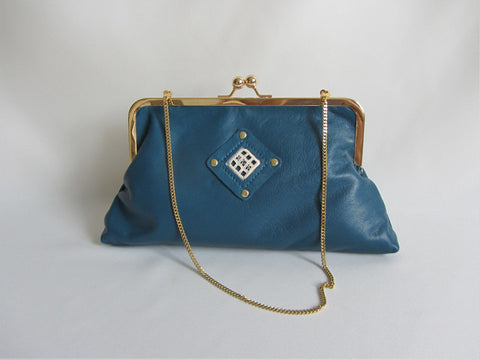 Ocean Blue Leather Clutch with Handstitched Embroidery and Detachable Chain