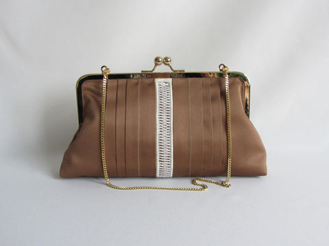 Taupe Tuxedo Pleated Clutch with Handstitched Embroidery and Detachable Chain
