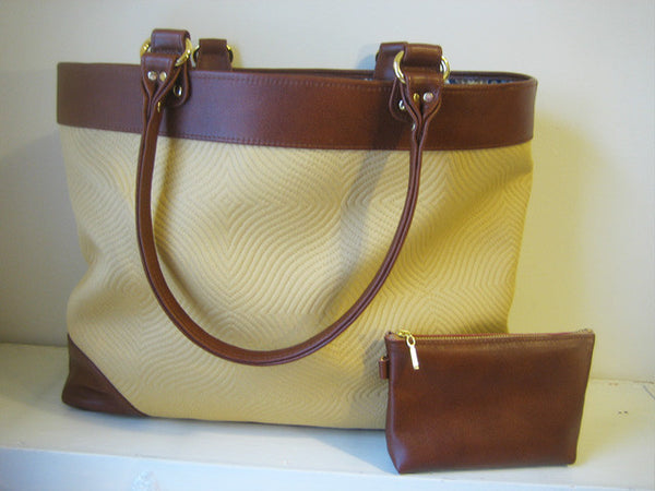 Cognac Leather and Mustard Yellow Tote