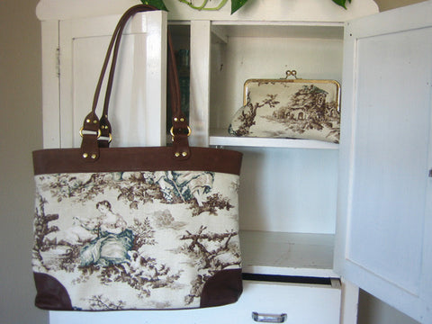 Espresso Leather and Cottage Toile Print Tote