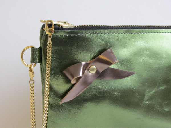 Holiday Metallic Evergreen Leather Wristlet with Bow Adornment and Detachable Bracelet