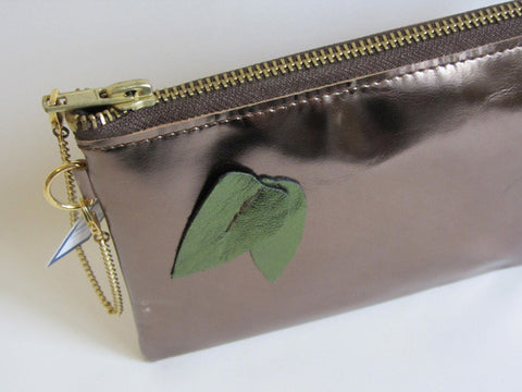 Holiday Metallic Gunmetal Leather Wristlet with Leaf Adornment and Detachable Bracelet
