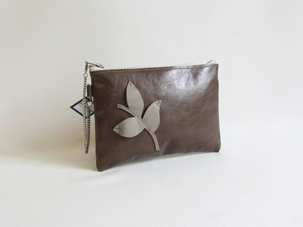 Taupe Mushroom Leather Wristlet with Leaf Adornment and Detachable Bracelet