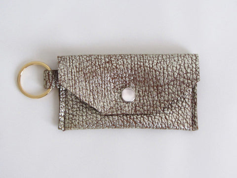 Gold Pebble Leather Thin Wallet